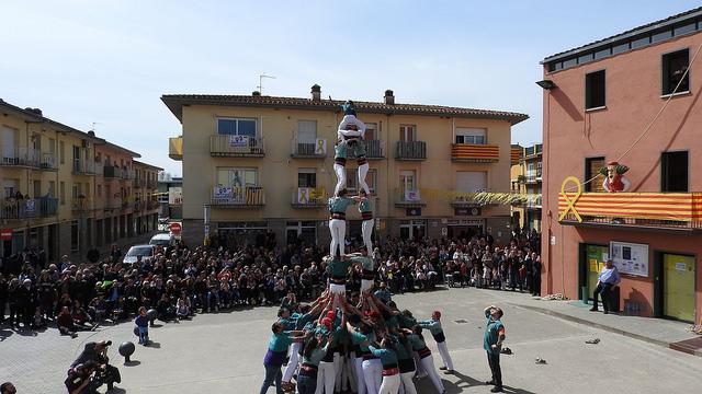 Festa Major de Cornellà del Terri - Actuació castellera dels Esperxats de l'Estany